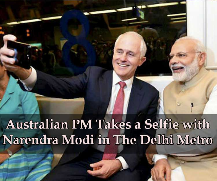Australian PM Takes A Selfie With Narendra Modi In The Delhi Metro