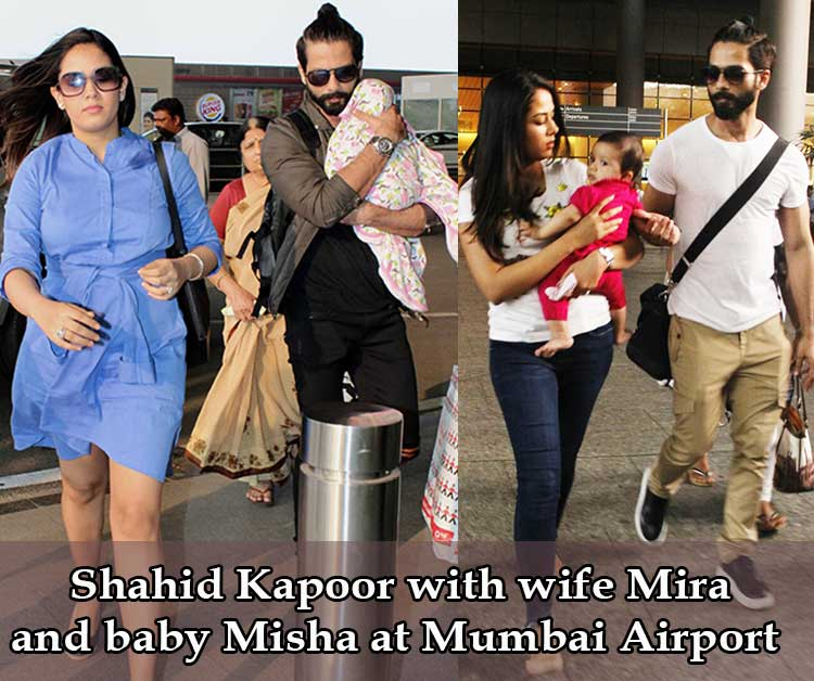 Shahid Kapoor Spotted With Wife Mira And Baby Misha At Mumbai Airport