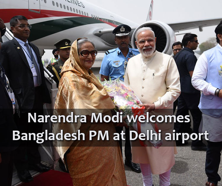 Narendra Modi Welcomes Bangladesh Pm At Delhi Airport